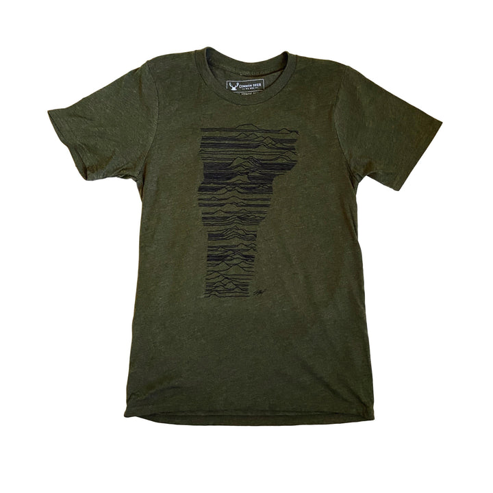 Mountains of Vermont Tee  in  Heathered Army Green with Black Ink