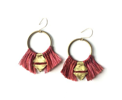Temara Linen and Brass Earrings