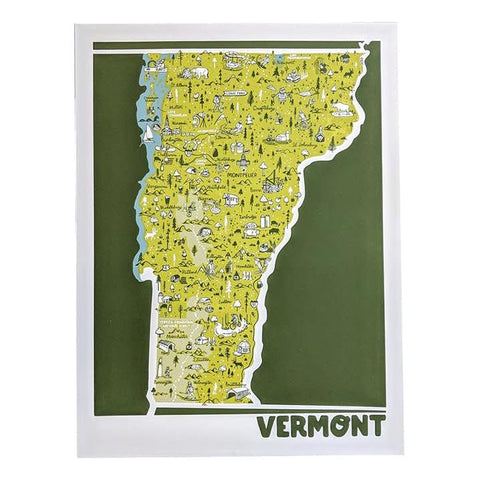Vermont State Illustrated Map Print