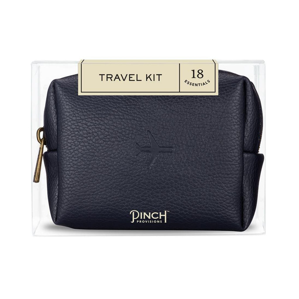 Navy Vegan Leather Travel Kit