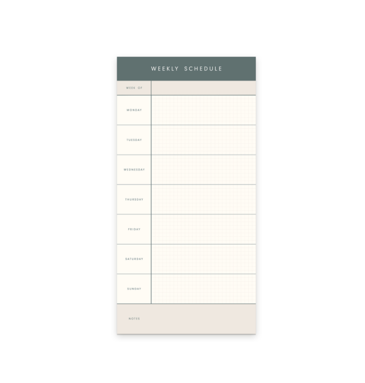 Weekly Schedule Notepad