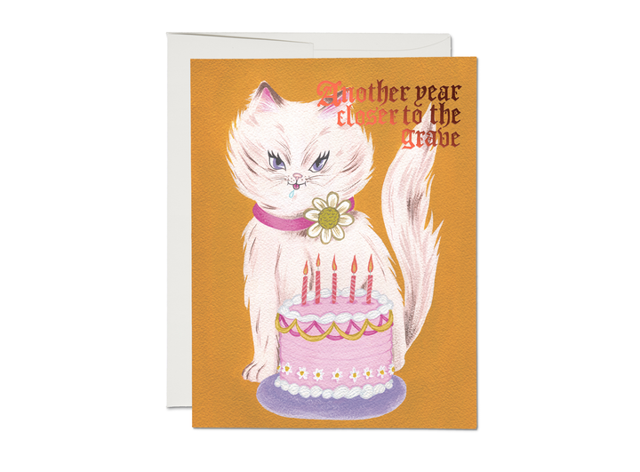 Another Year Closer to the Grave Kitty & Cake Card - RC6