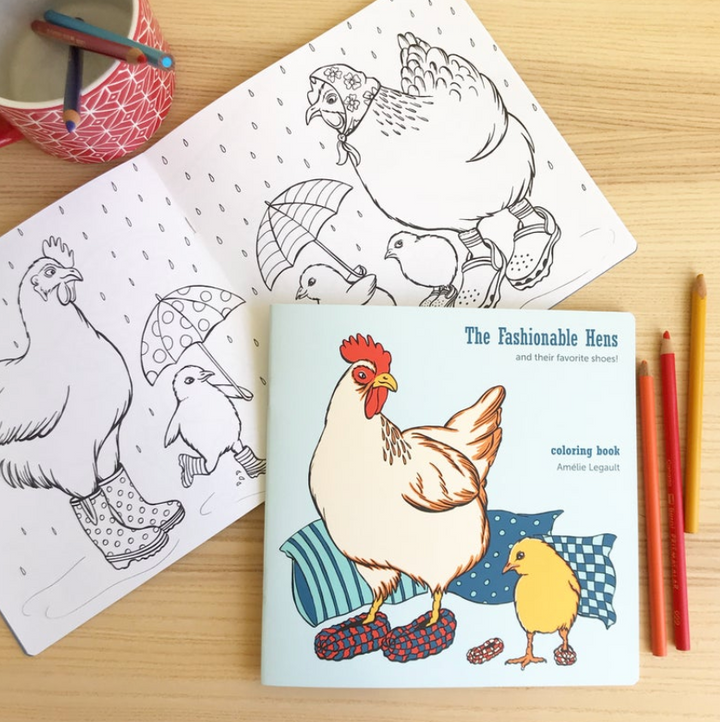 Fashionable Hens Coloring Book
