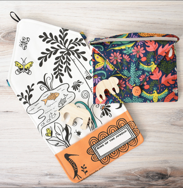 Jungle Playmat Tote with Wood Sloth & Elephant