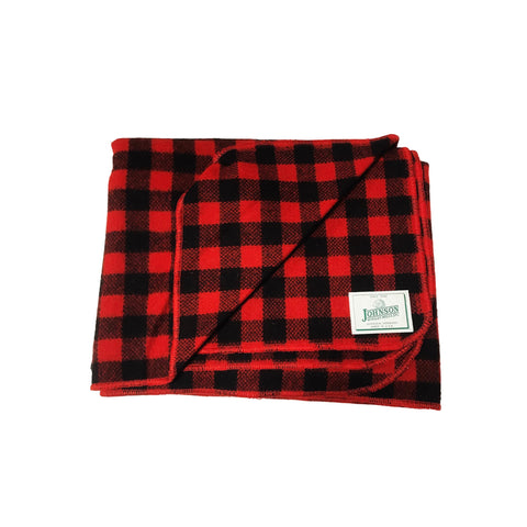 Johnson Woolen Mills Norris Throw - Tight Red Buffalo Check