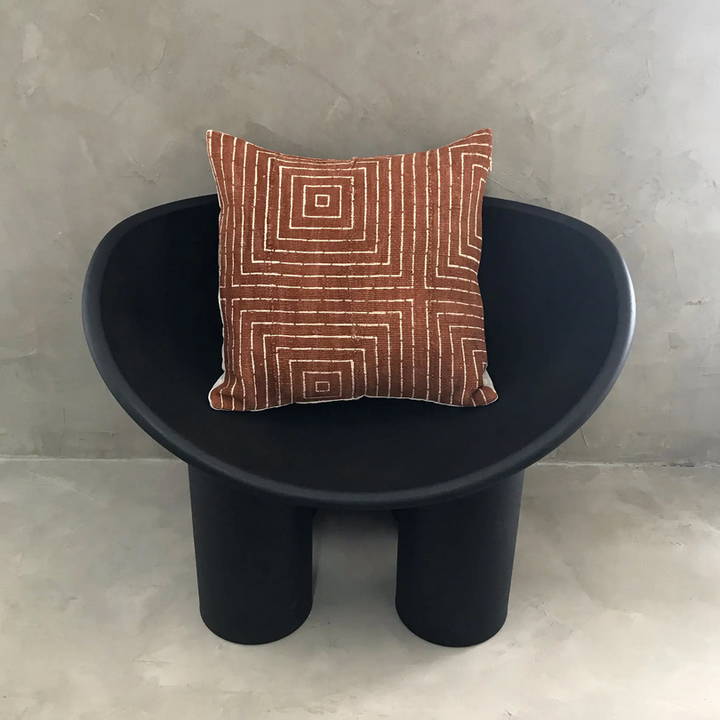 Boxes Geometric Rust Mudcloth Pillow Cover - 20x20
