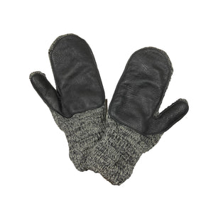Men's Wool Mittens with Deerskin Palm - Charcoal