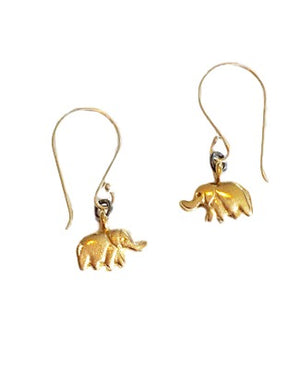 Brass Elephant Earrings