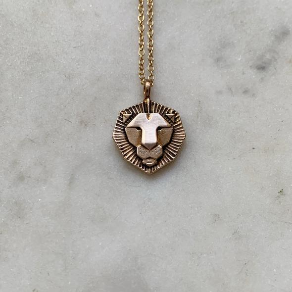 Small Lion Necklace in Bronze