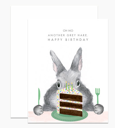 Gray Hare Birthday Cake Card - DH5