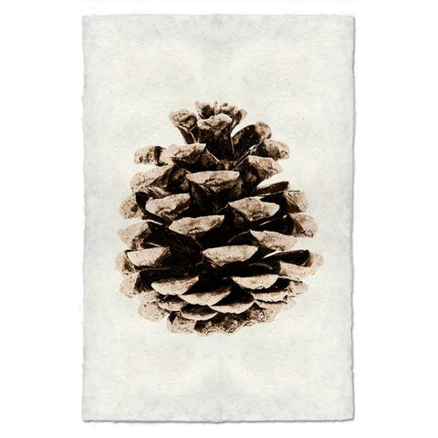 Archival Handmade Paper Red Leaf Pine Cone Print