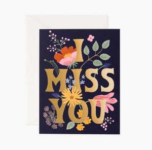 I miss you on black with flowers card - RP2