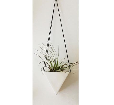 Small White Triangle Hanging Planter