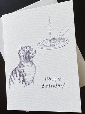 Fish Steak Cat Birthday Card - AA5