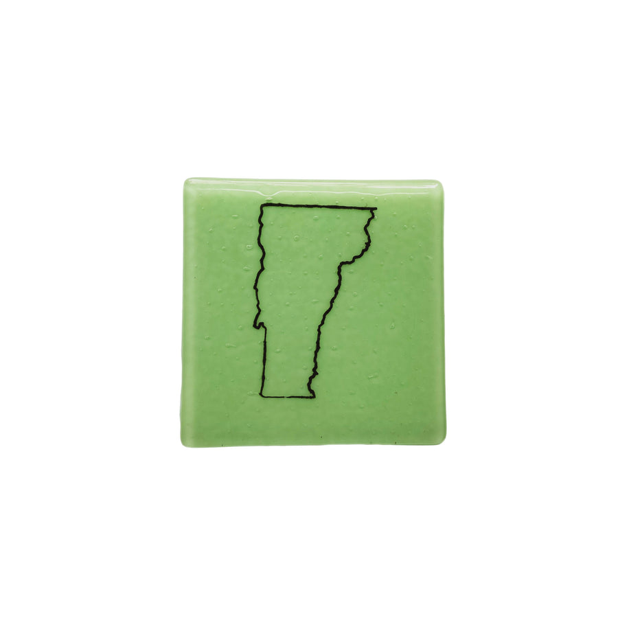 Vermont Fused Glass Coaster - Black on Mint