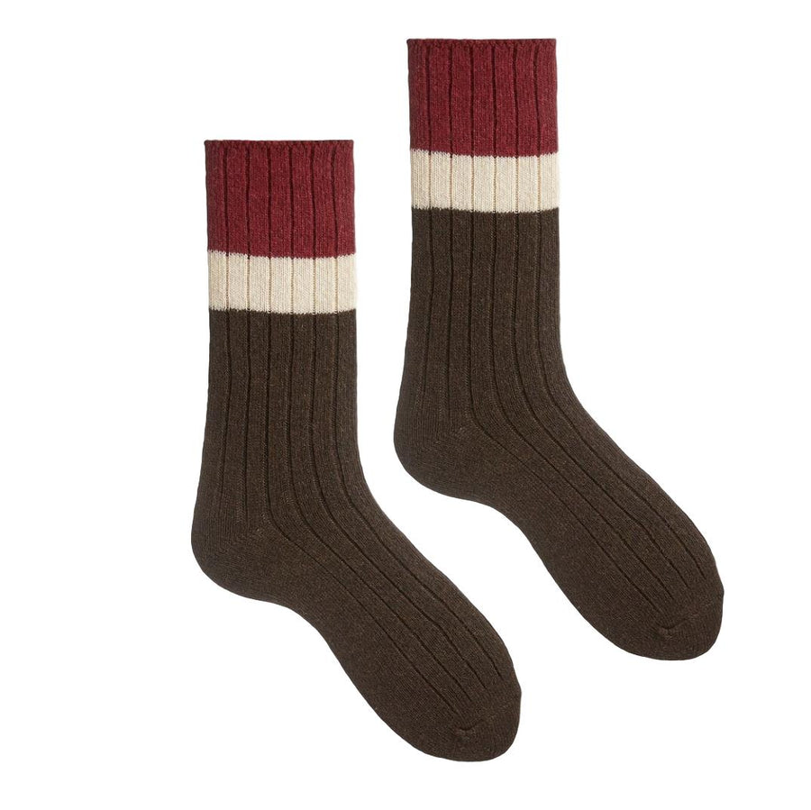 Cashmere/Wool Ribbed Colorblock Women's Socks