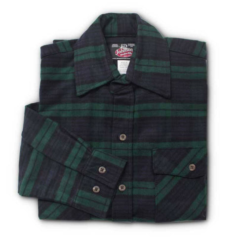 Blackwatch Green and Navy Plaid Men's Flannel Shirt