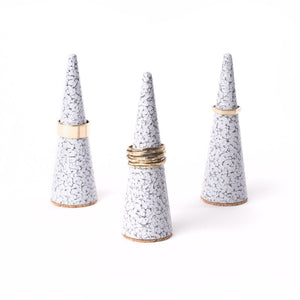White Speckled Steel Ring Cone