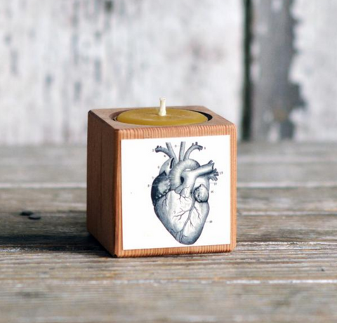 Heart Candle in Reclaimed Wood