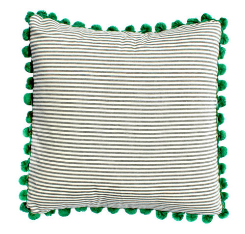 Grey & White Stripe Pillow with Green Pom Poms