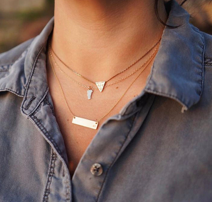 "Tiny ""VT"" Gold Bar Necklace"