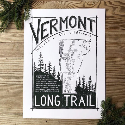Screenprint Long Trail Vermont's Footpath Print