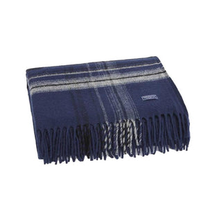 Faribault Border Plaid Throw - Navy/Grey/Black