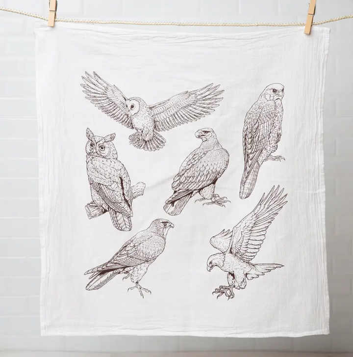 Flour Sack Tea Towel - Birds of Prey