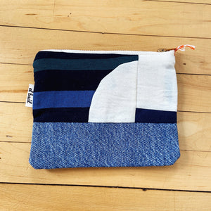 El Baul Small Hand-Dyed Quilted Clutch - Denim & Sunset