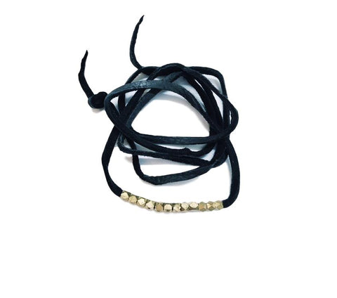 Leather and Brass Hex Wrap Bracelet