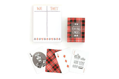 Plaid Playing Cards with Notepad Gift Set