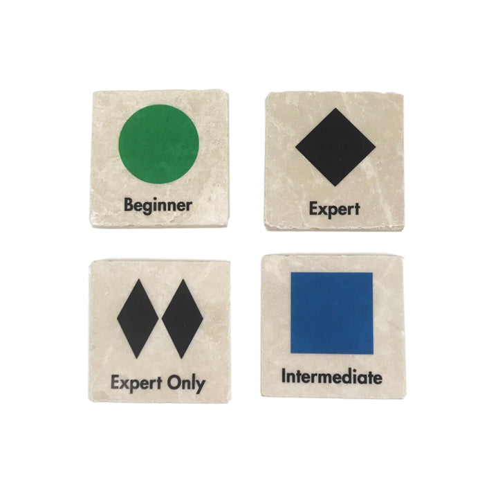 Marble Ski Slope Marker Coasters - Set of 4