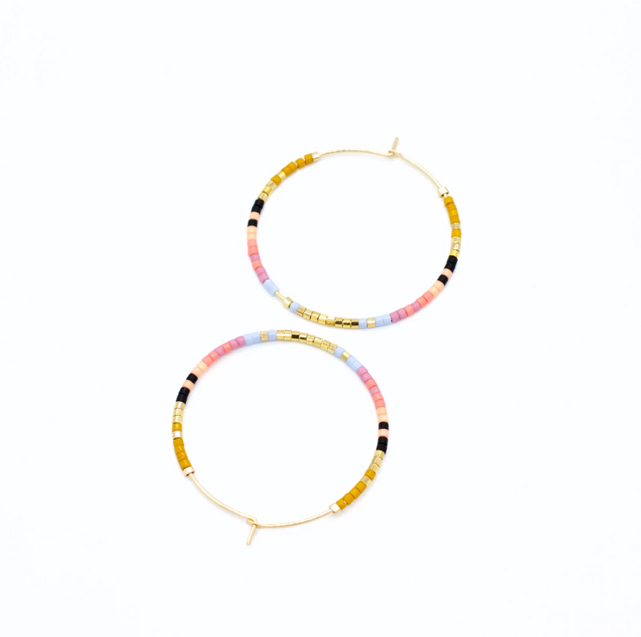 Beaded Serpent Hoops 14k Gold Fill - Wildflower