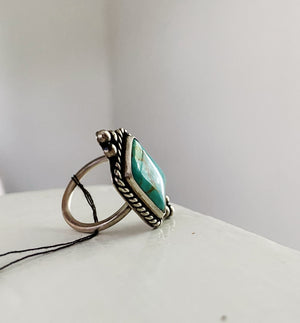 One of a Kind Large Turquoise Ring - Small Border