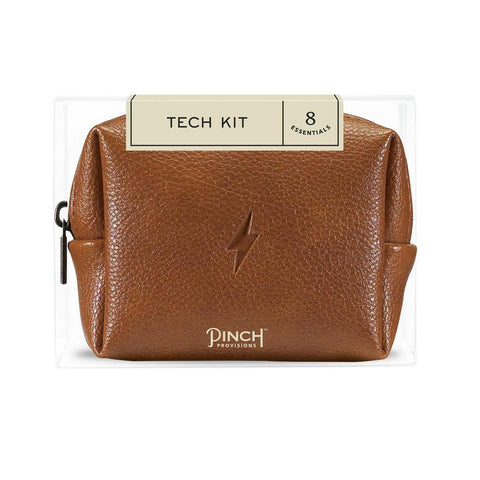Cognac Brown Leather Tech Kit