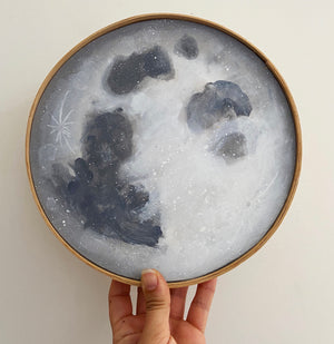 "Hannah Sachse Hand Painted Moon with Ash Frame 9.5"" Light Grey"