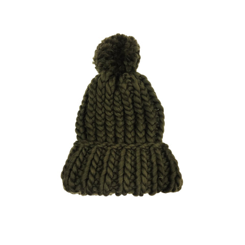 Luxurious Hand-Knit Wool Beanie - Olive