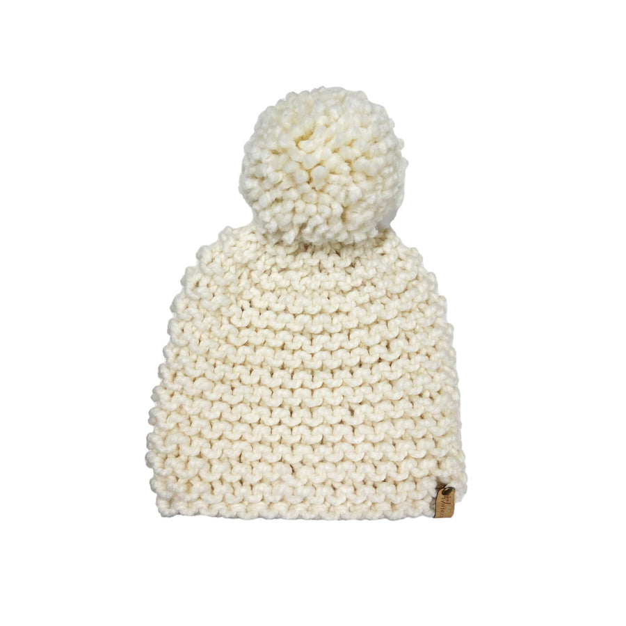 Hand-knit Oversized Pom Beanie - Winter White