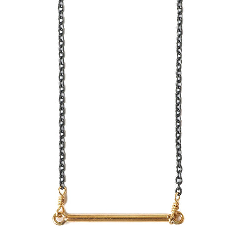 Gold and Gunmental Bar Necklace