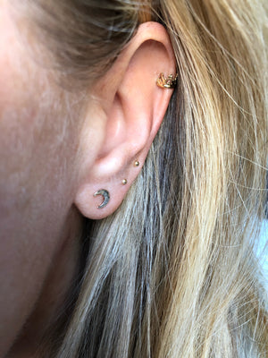 Crescent Moon Hammered Studs
