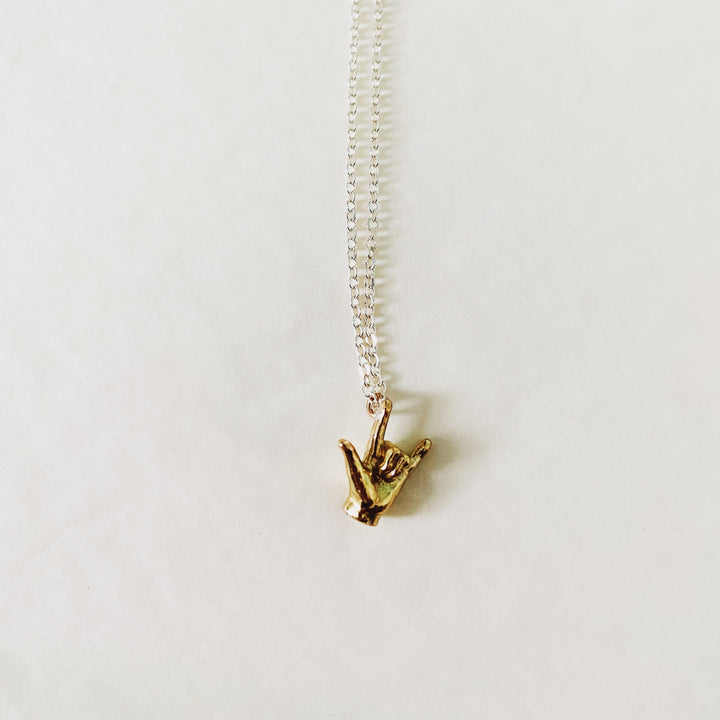 """Love"" Brass Gesture Necklace"