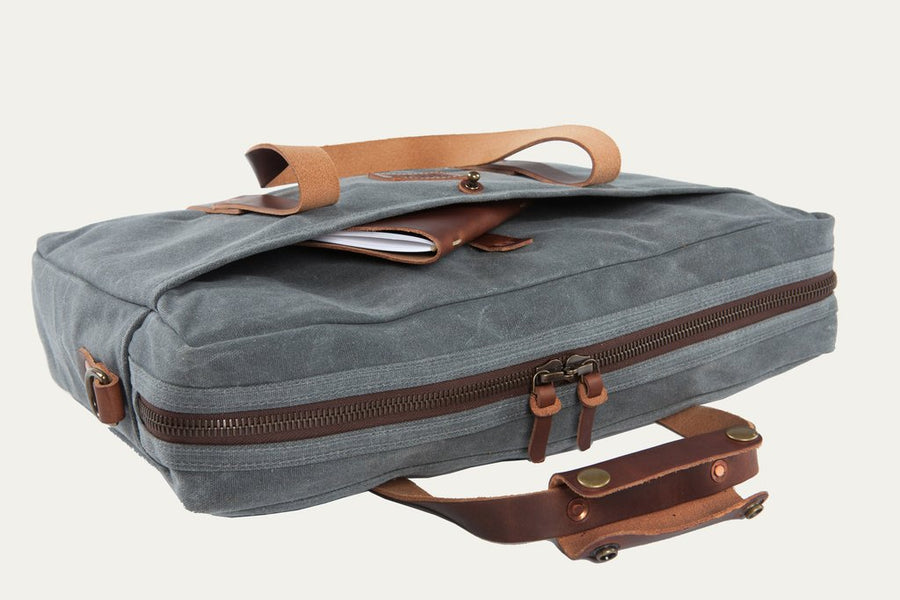The Courier Briefcase in Charcoal