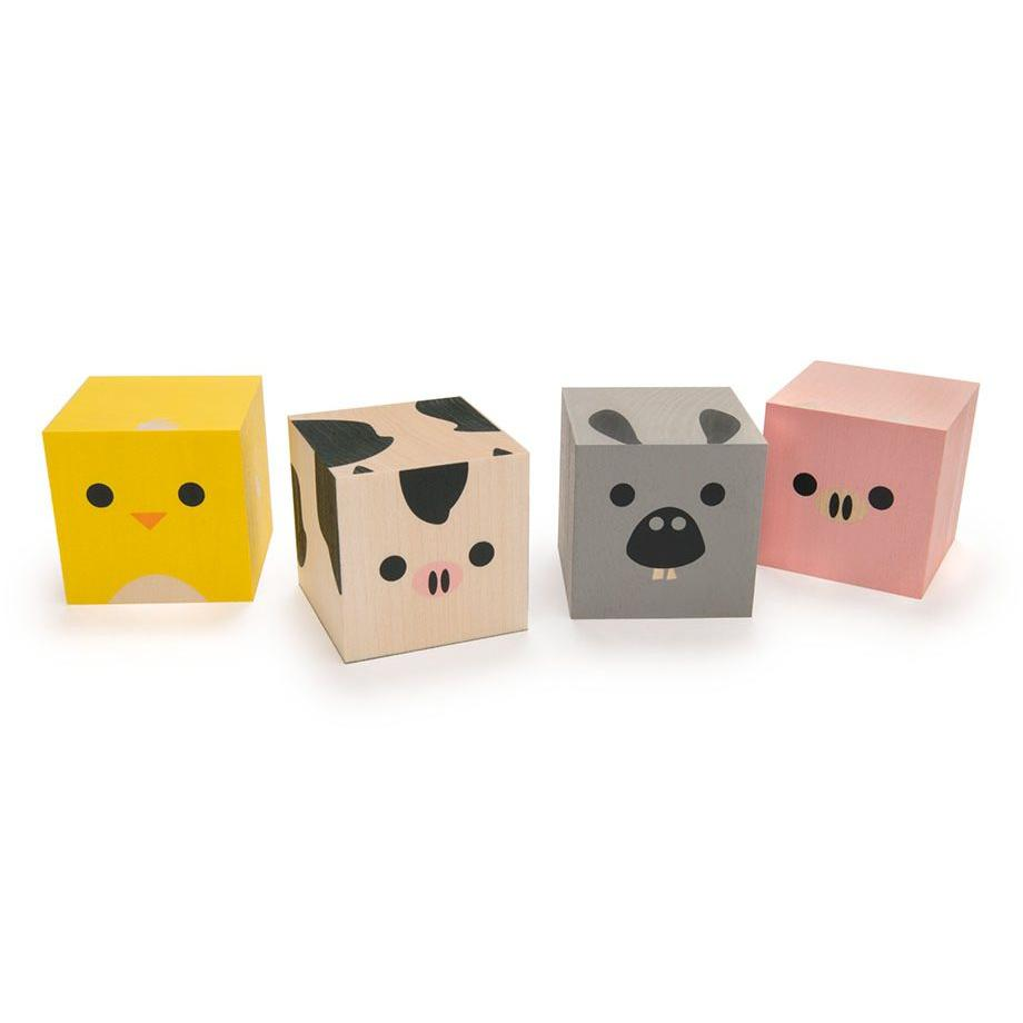 Cubelings Wooden Blocks -Farm Animals