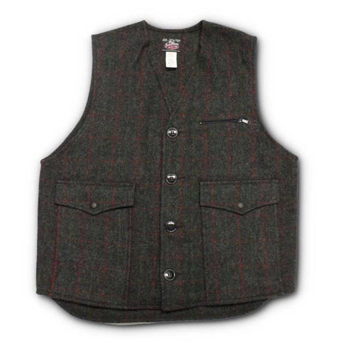 Johnson Wool Adirondack Plaid Button Vest