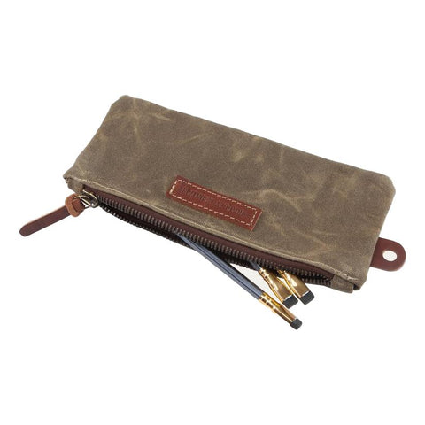 Pencil Zip Pouch in Field Tan