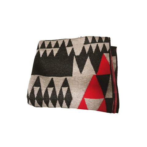 Egyptian Cotton Geo Triangles Wrap - Cherry/Charcoal