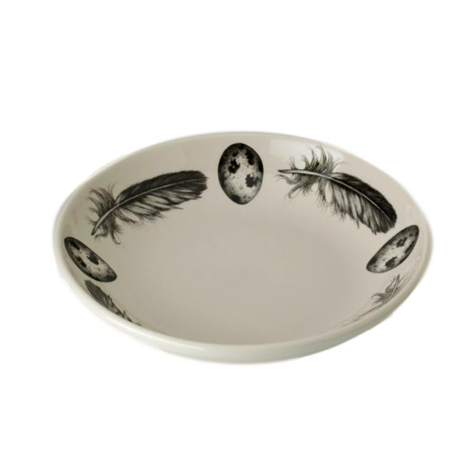Shallow Bowl - Quail Feather & Egg
