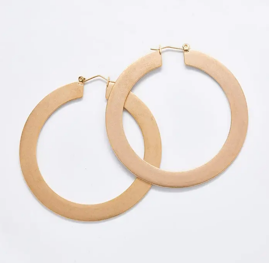 Gold Matte Flat Hoop Earrings