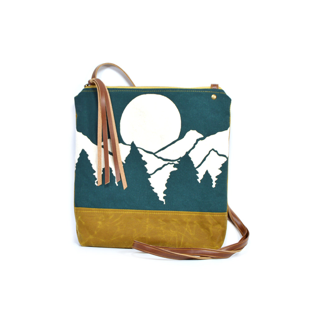 Weekdayer Leather & Printed Canvas Bag