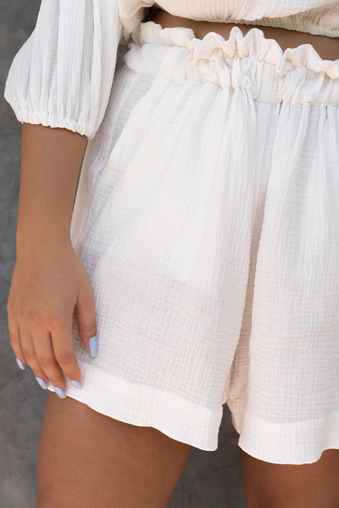 Diana High Waisted A-Line Cotton Shorts with Pockets White